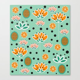 Summer flowers in mint Canvas Print