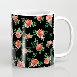 Roses Pattern on Black Background Coffee Mug