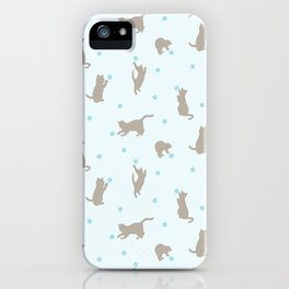 Polka Dot Cats in Blue iPhone Case