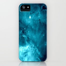 Turquoise Teal Ocean Space Galaxy iPhone Case