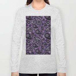 Amethyst Purple Paisley Pattern Long Sleeve T-shirt