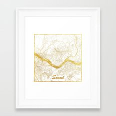 Seoul Map Gold Framed Art Print