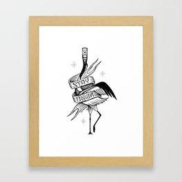 Stay Down. Japanese Crane Framed Art Print