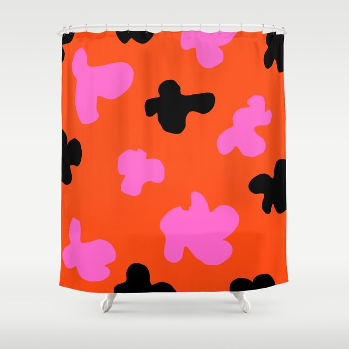 Grell 003 / A Dazzling 70's Pattern Of Black & Pink Spots Shower Curtain
