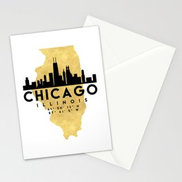CHICAGO ILLINOIS SILHOUETTE SKYLINE MAP ART Stationery Cards