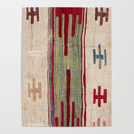 Arcade Star Kilim // 17th Century Colorful Muted Lime Green Southwest Cowboy Ornate Accent Pattern Poster