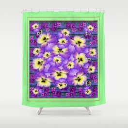 Purple Pansies Garden in  Green Jade Color Frame  Abstract Shower Curtain