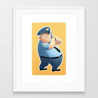 police Framed Art Prints featuring police by Grubert