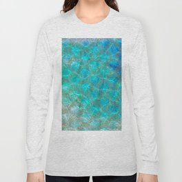 Sea Ocean Waves effect- Gold and Aqua Scales Pattern Long Sleeve T-shirt