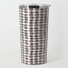 Pink Black Wall Art, Eyes Pattern, Vanity Decor, Modern, Pattern, Pop Art Travel Mug