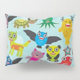 Cute cartoon Monsters seamless pattern on blue background Pillow Sham