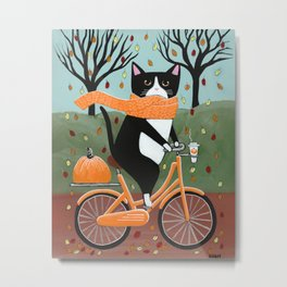 Tuxedo Cat Autumn Bicycle Ride Metal Print