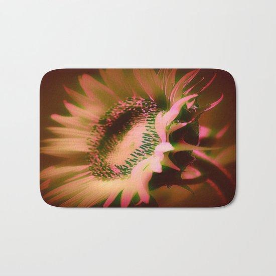 Painterly Glowing Sunflower Bath Mat
