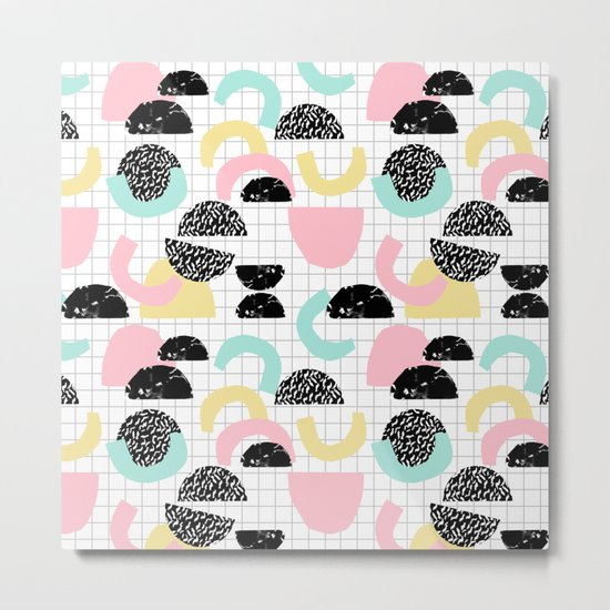Pretty Much - abstract minimal memphis 80s style retro throwback grid pattern design Metal Print