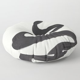 Minimalist Abstract Art Smoke Genie In The Lamp Mythical Magical Ink Art Black & White Floor Pillow