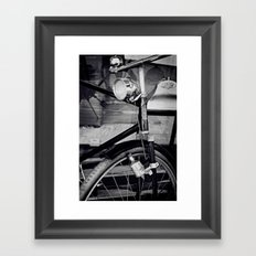 Bicyclette vintage retro bike black and white Framed Art Print