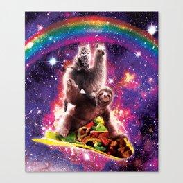 Space Cat Llama Sloth Riding Taco Canvas Print