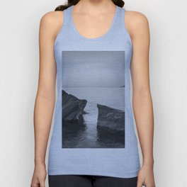 Serenity Sea. BW square. At Sunrise Morning Unisex Tank Top