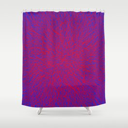 tangle, red on blue Shower Curtain