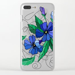 Beautiful abstract flowers in blue colors Clear iPhone Case