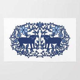 Scandinavian Cat blue Rug