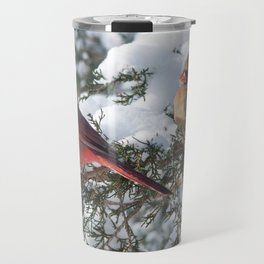 Sunny Winter Cardinals in the Adirondacks Travel Mug