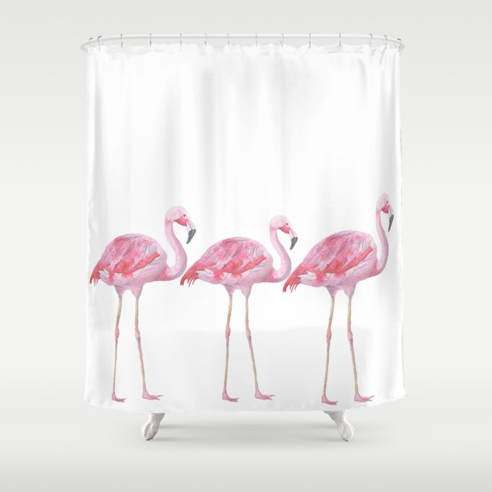 Flamingo - Pink Bird - Animal On White Background Shower Curtain