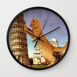 GIANT KITTEN IN PISA Wall Clock