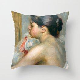 "Auguste Renoir (1841-1919) ""Dark-Haired Woman"" Throw Pillow"