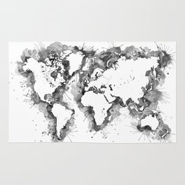 Gray scale rugs society6 watercolor splatters world map in grayscale rug gumiabroncs Images
