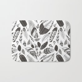 Black and white feathers pattern Bath Mat