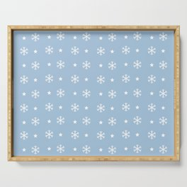 Pale Blue background with white snowflakes and stars pattern Serving Tray