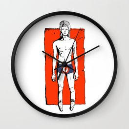 Bowie on the beach Wall Clock