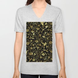 Black and gold foil humming birds & leafs pattern Unisex V-Neck