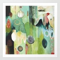 "flora bowley Art Prints featuring ""Fly Home"" Original Painting by Flora Bowley by Flora Bowley"