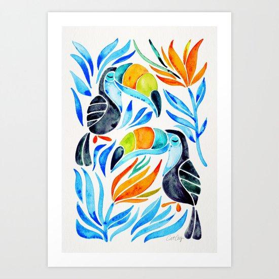 Tropical Toucans – Blue Leaves Art Print