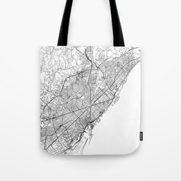 Barcelona White Map Tote Bag