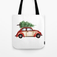 volkswagen Tote Bags featuring Christmas Volkswagen Bug  by Emily Frazier
