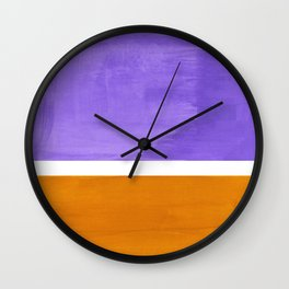 Minimalist Abstract Rothko Mid Century Modern Color Field Lavender Yellow Ochre Wall Clock