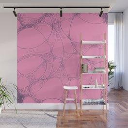 Creamy Strawberry pink yoghurt doodel design Wall Mural