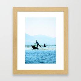 Fishing - Inle Lake - Burma (Myanmar) Framed Art Print