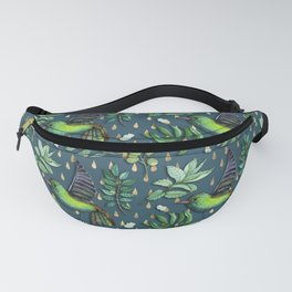 Exotic birds on delicate gold raindrop pattern Fanny Pack