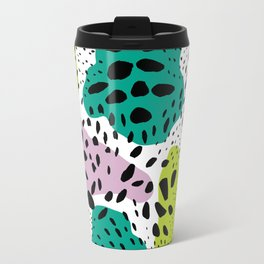 Modern abstract painted black polka dots fashion colors geometric shapes lavender lime Travel Mug