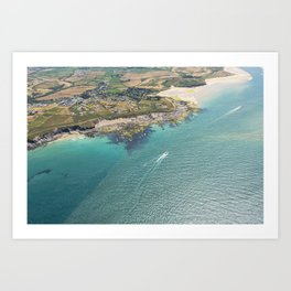 Aerial Views of the mouth of the River Camel, Padstow, Cornwall Art Print
