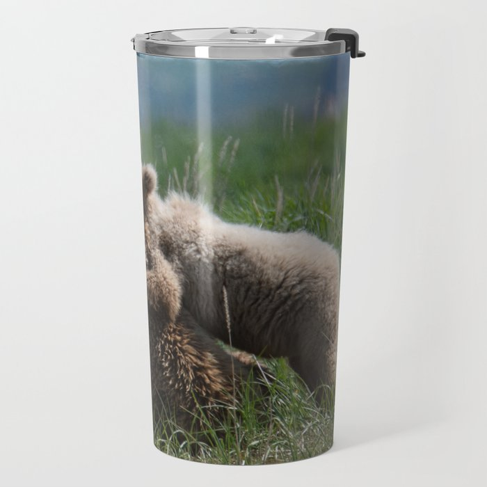 Alaska Grizzly Mother And A Cub In Katmai National Park #Society6 Travel Mug