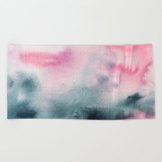 When indigo meets pink || watercolor Beach Towel