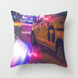 Taxi NYC Life (Color) Throw Pillow