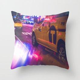 Taxi NYC Life (Color) Throw Pillow