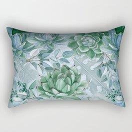 Painterly blue teal cactus pattern Rectangular Pillow