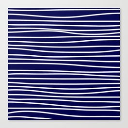 Navy Blue & White Maritime Hand Drawn Stripes- Mix & Match with Simplicity of Life Canvas Print